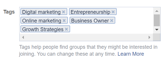 example of group tags on facebook