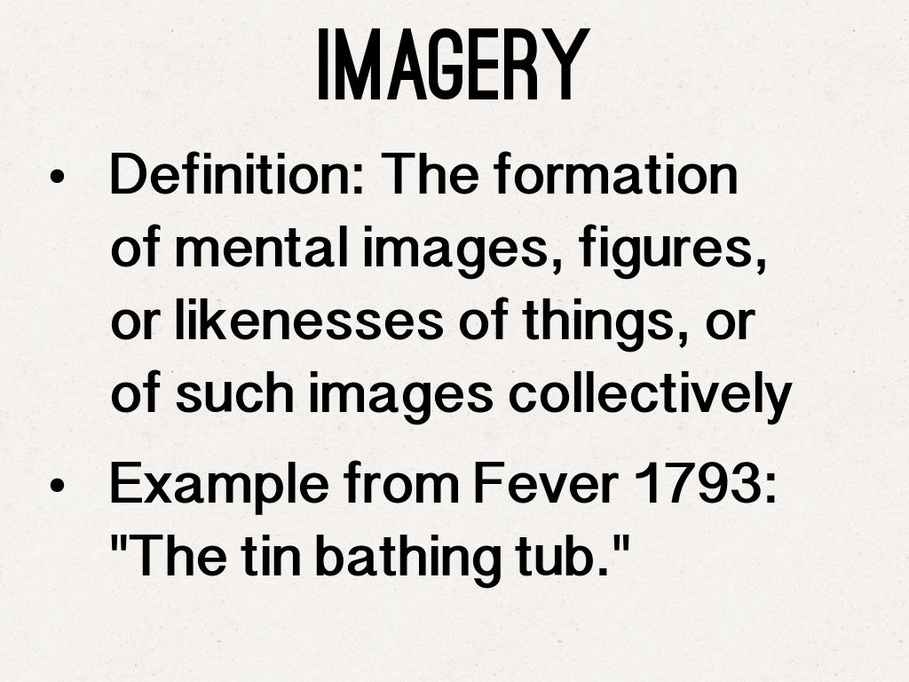 what is an example of a imagery sentence