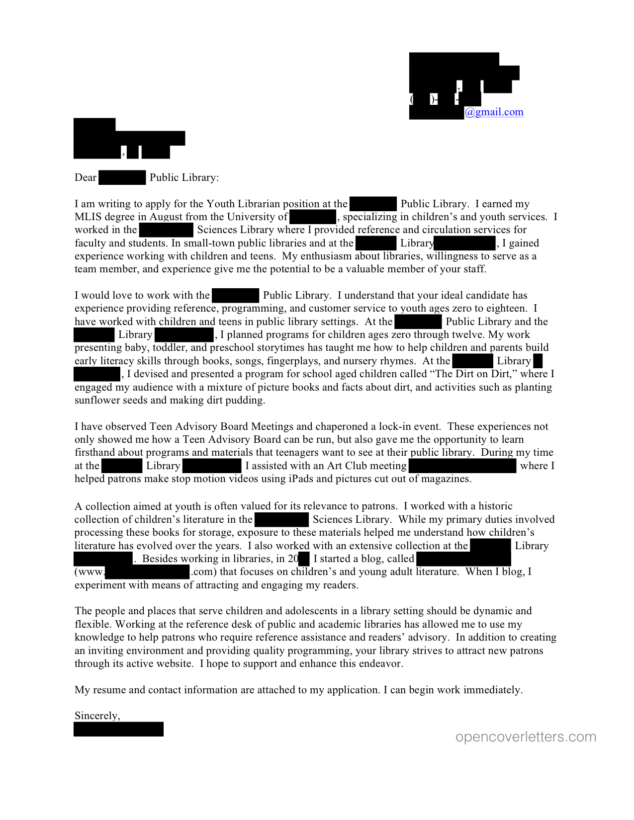 cover letter example no work experience