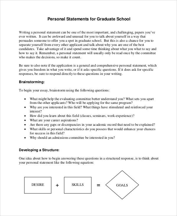 example format for statement of purpose for graduate school