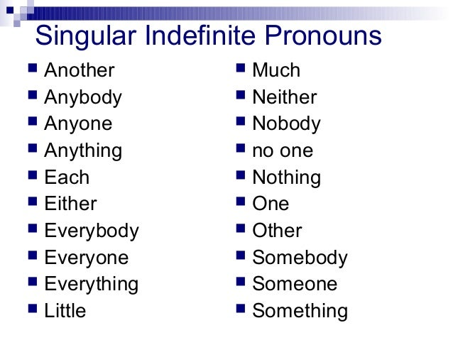 subject verb agreement indefinite pronouns example