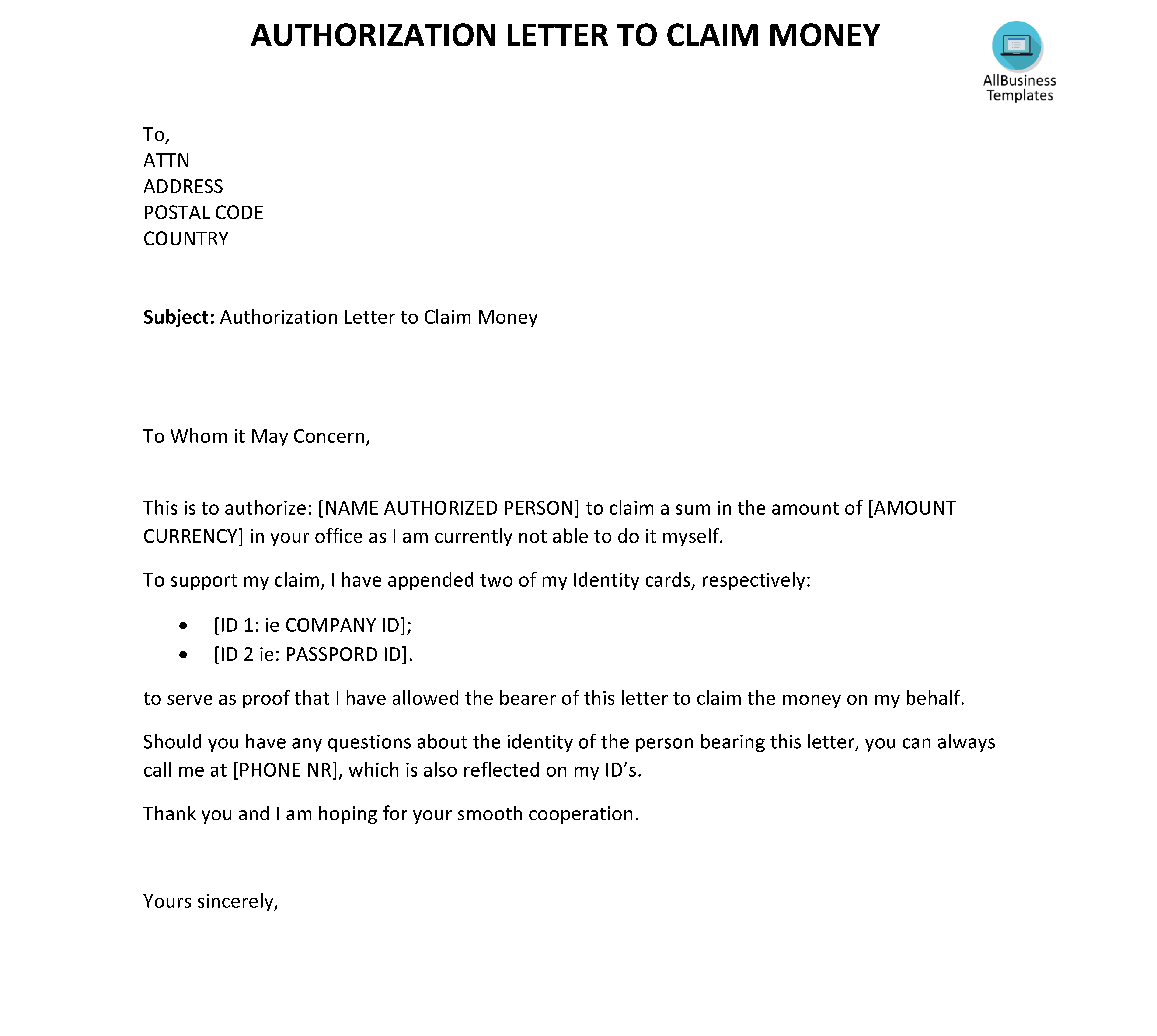 example of authorization letter for permission