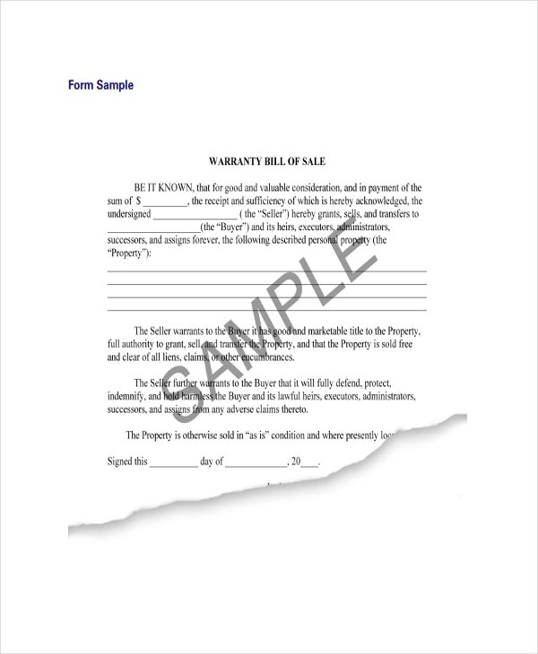 example of bill of sale property