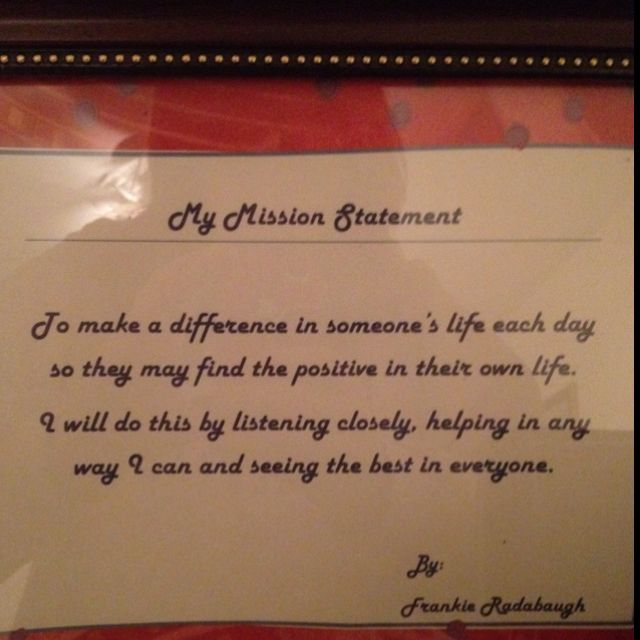 personal vision and mission example